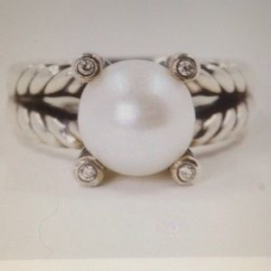 DY 10mm Pearl Diamonds Ring Sz 8